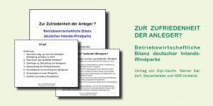 Betriebswirtschaftliche Bilanz deutscher Inlands-Windparks