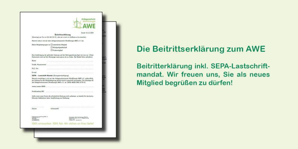 Beitrittserklärung zum AWE